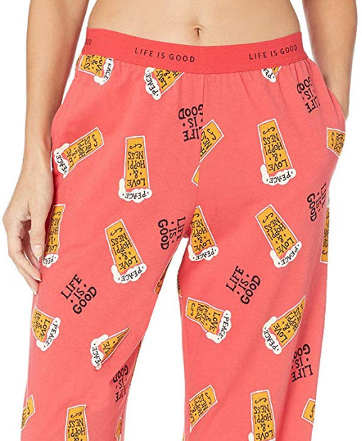 Life is Good Women's Snuggle Up Sleep Pant Peace Love Hoppiness, Americana Red, Large