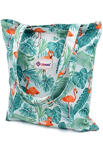 LIFEMATE Floral Tote Bags Waterproof Tote Shoulder Handbag for Girls' Shopping Travel (Flamingo  ...