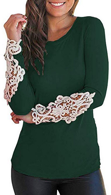 LILBETTER Womens Tops Long Sleeve Lace Scoop Neck Tunic Blouse dark green