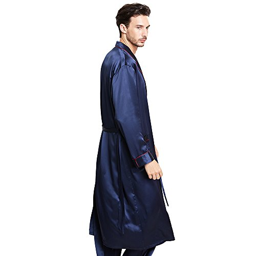 LilySilk 3pcs Silk Pajamas & Robe Set For Men 100 Real Mulberry 22 Momme Casual Long Luxury  ...