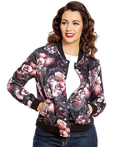 Lindy Bop berrie' Dark Floral Bomber Jacket