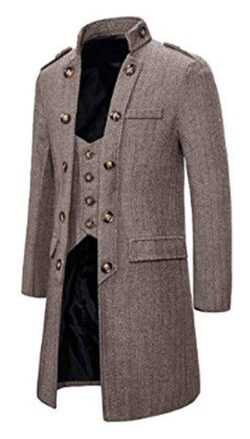 LinkShow Mens Long Double Breasted Wool-Blend Fake Two Dust Coat
