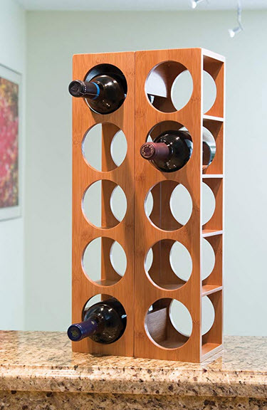 Lipper International 8305 Bamboo Wood Stackable 5-Bottle Wine Rack