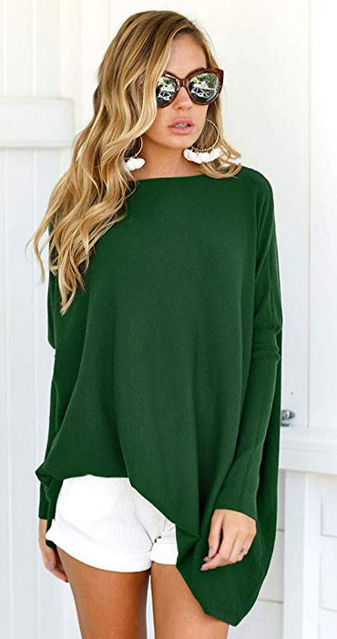 LIYOHON Women's Oversized T-Shirt Round Neck Long Sleeve Loose Sweaters Tunic Tops for Wom ...