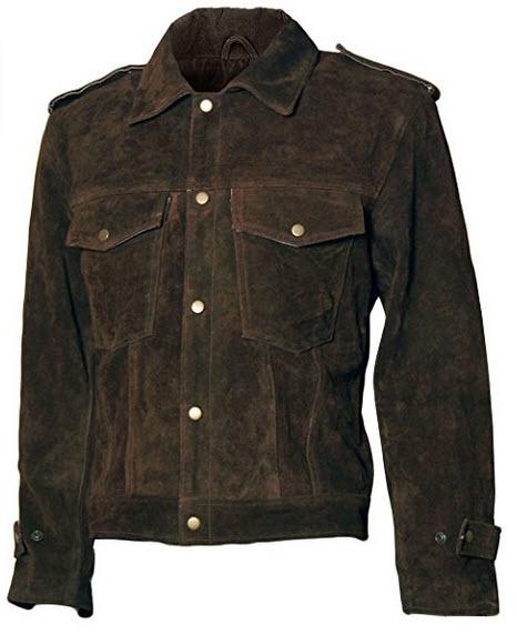 LJS 1960's Vintage Look Suede Leather Men's Brown Biker Jacket .