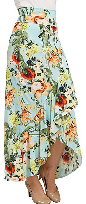 LL Womens Wrapped High Low Ruffle Maxi Skirt, mint floral