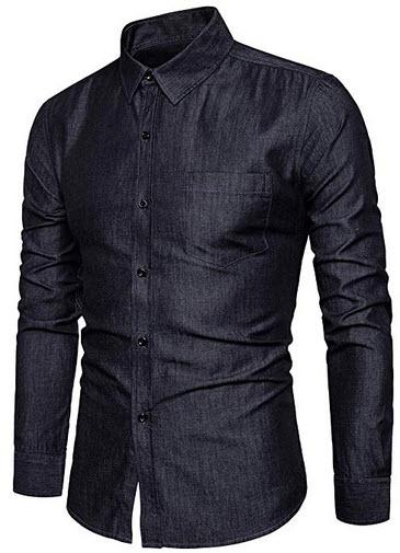 LOCALMODE Men's Casual Dress Shirt Button Down Shirts Fashion Denim Shirt black