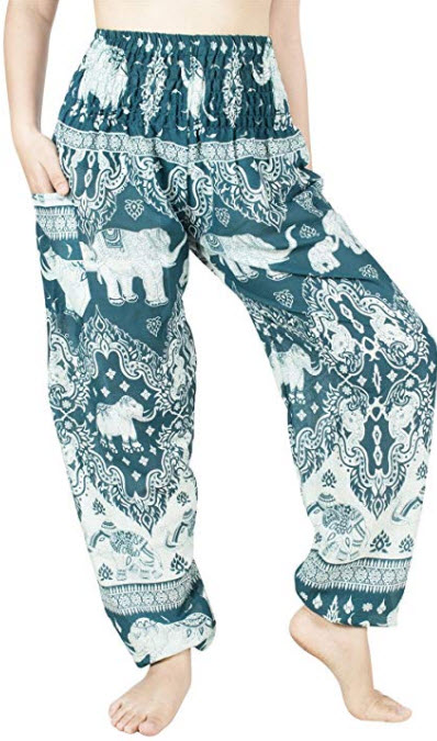 Lofbaz Women's Rayon Smocked Waist Flowy Hippie Boho Harem Pants, elphant 07 teal green