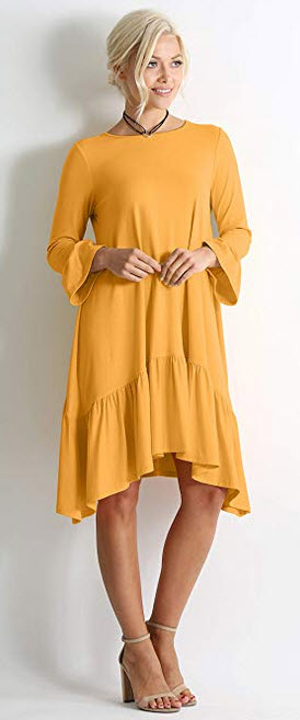 Long Sleeve High Low Dresses for Women Regular and Plus Size – mustard