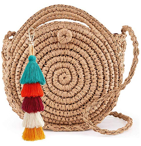 LONGBLEWomens Round Handbag Handmade Straw Woven Sea Beach Shoulder Bags Purse