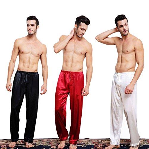 LONXU Mens Silk Satin Pajamas Pyjamas Pants Sleep Bottoms