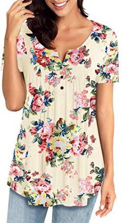 LookbookStore Women's Casual Long Sleeve Henley Shirt Button Tunic Tops Blouse, short slee ...