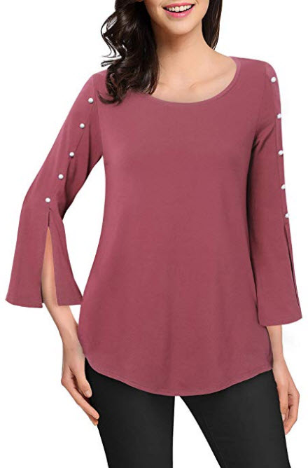 Lotusmile Women's 3 4 Bell Sleeve Blouse Tops Casual Loose Tunic Shirts