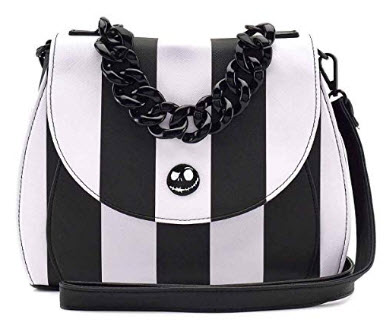 Loungefly Disney The Nightmare Before Christmas Striped Cross Body Bag, black white