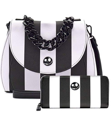 Loungefly Disney The Nightmare Before Christmas Striped Crossbody Bag Wallet Set