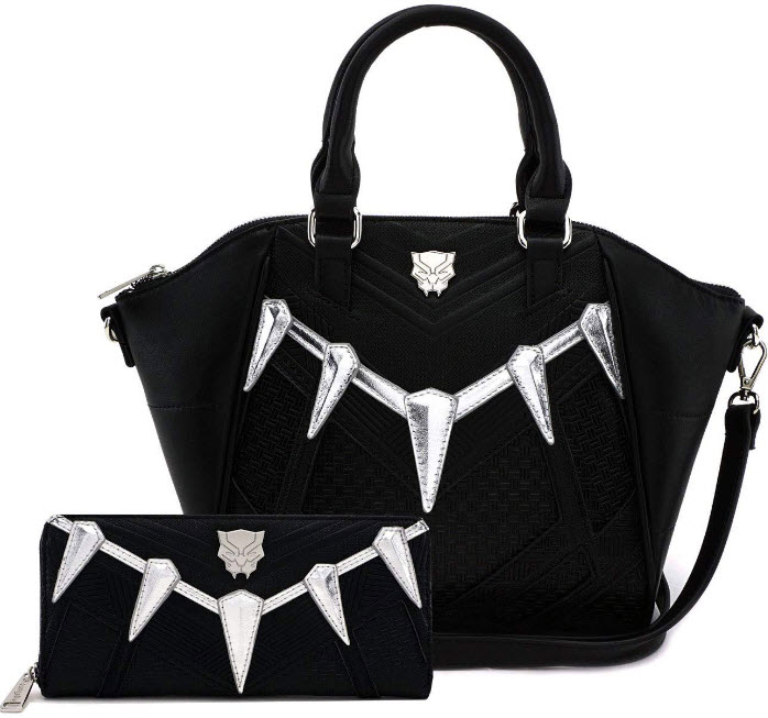 Loungefly Marvel Black Panther Cosplay Cross Body Bag and Wallet Set (Black
