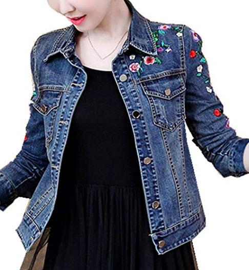 Womens Denim Jacket Embroidered Floral Jean Jacket, blue 8