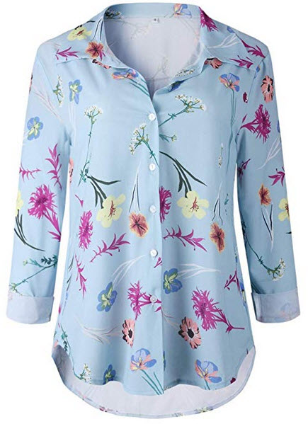 LSAME Womens Collar Shirt V Neck Long Sleeve Floral Print Button Down T Shirts Casual Tops Blous ...