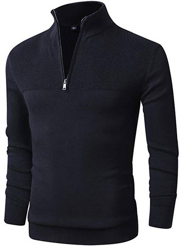 LTIFONE Mens Slim Fit Zip up Mock Neck Polo Sweater Casual Long Sleeve Sweaters Pullover Sweater ...