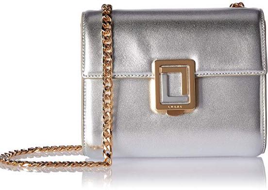 LUANA ITALY Women's Marella Mini Chain Crossbody Leather Handbag Metallic Silver