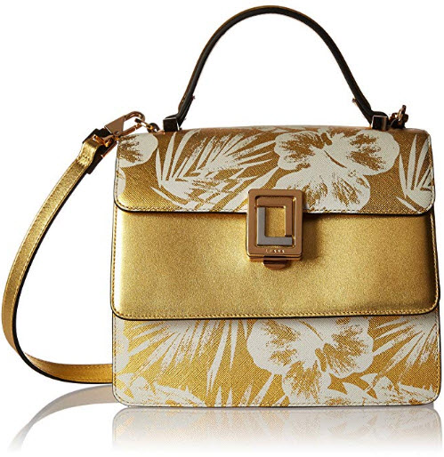 LUANA ITALY Women's Maria Satchel Gold Palm Motif Mini Leather Handbag