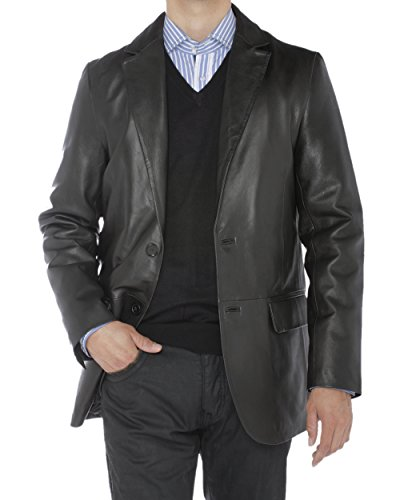 Luciano Natazzi Mens 2 Button Modern Fit Nappa Leather Blazer Center Vent Jacket