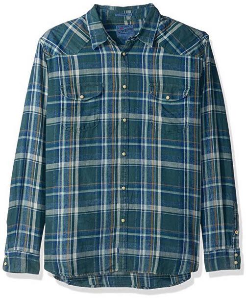 Lucky Brand Men's Santa Fe Western Shirt indigo green