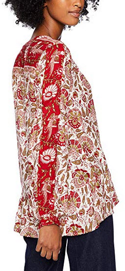 Lucky Brand Womens Border Print Puff Sleeve Peasant Top red multi