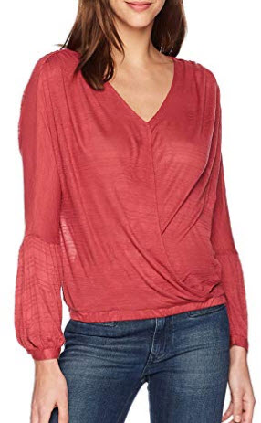 Lucky Brand Women's Choker Wrap Top in Earth Red