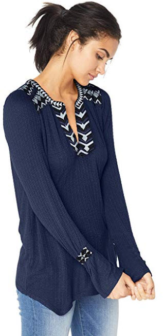 Lucky Brand Women's Drop Needle Embroidered Top american navy