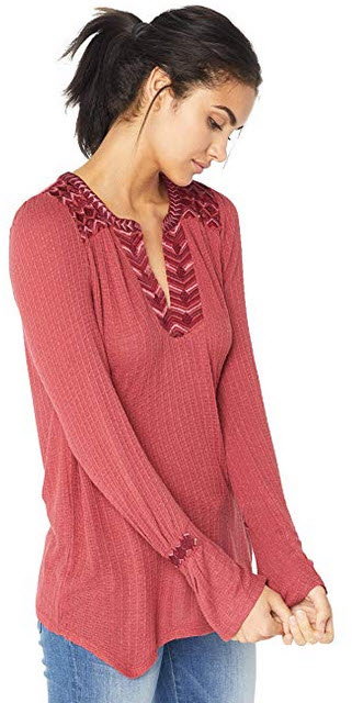 Lucky Brand Womens Drop Needle Embroidered Top earth red