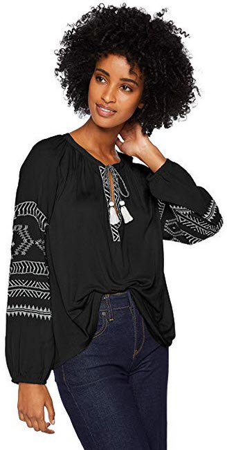 Lucky Brand Women's Embroidered Print Peasant Top black cream