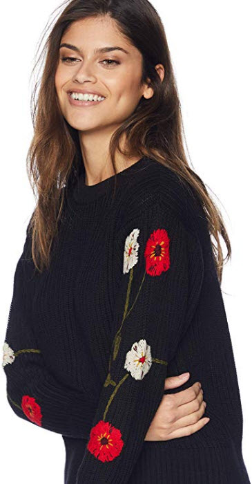 Lucky Brand Women's Embroidered Sleeve Pullover Sweater black / multi