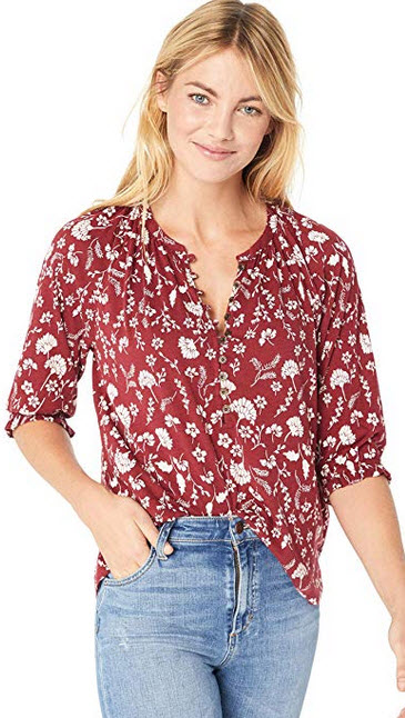 Lucky Brand Womens Floral Henley Top red multi