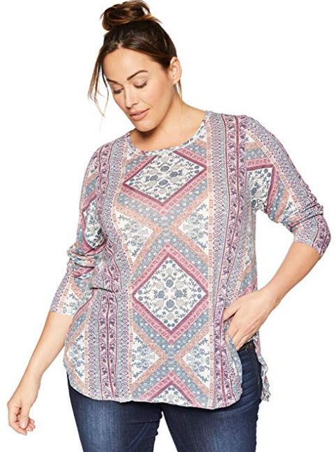 Lucky Brand Women's Plus Size Lucky Tapestry Tee multi