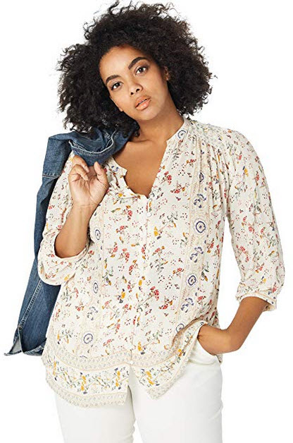 Lucky Brand Womens Plus Size Printed Peasant Top natural multi