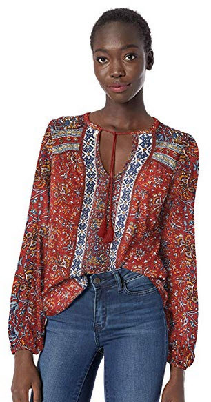 Lucky Brand Women's Printed Peasant Top red multi