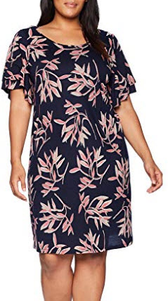 Lucky Brand Women's Size Plus Printed Ruffle Dress in Pink Multi