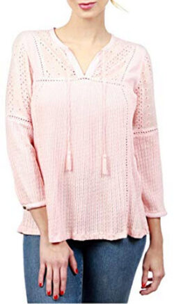 Lucky Brand Womens Textured Eyelet Peasant Top, silver pink
