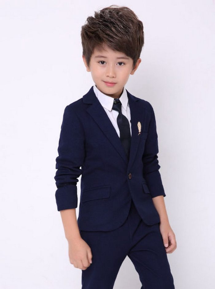 Luobobeibei Boy's 3 Pcs Solid Tuxedo Suit With Jacket Pants Classic Child Formal Suit