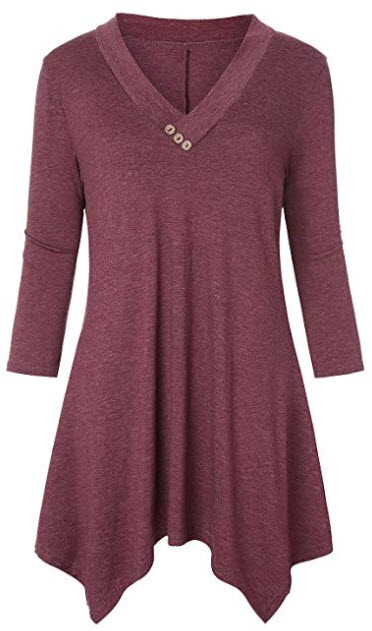 Luranee Womens 3/4 Sleeve Shirts V Neck Flowy Casual Tunics Tops with Buttons wine