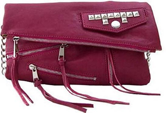 Lush Leather Rockin Crossbody Bag, magenta pink