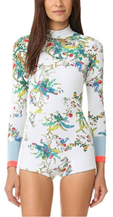 Lynddora Womens Swimwear Monokini Swimsuits Sexy One Piece Long Sleeve Bathing Suits, white floral