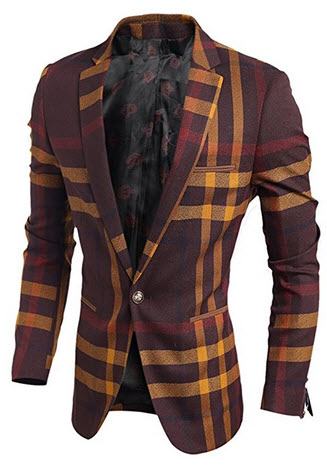 Mada Men's Stylish Slim Fit Tartan Jacket Coat Casual Suit Jacket