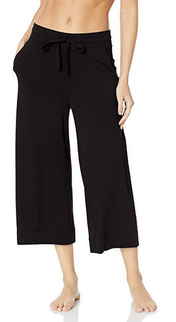 Mae Womens Standard Supersoft French Terry Cropped Lounge Pant black