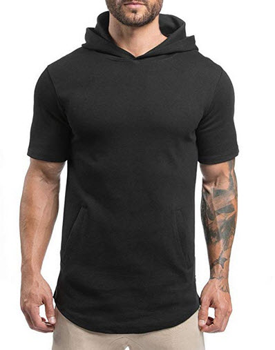 Magiftbox Mens Hipster Hip Hop Workout Short Sleeve Hoodies Pullover Hooded Gym Sweatshirts Kang ...