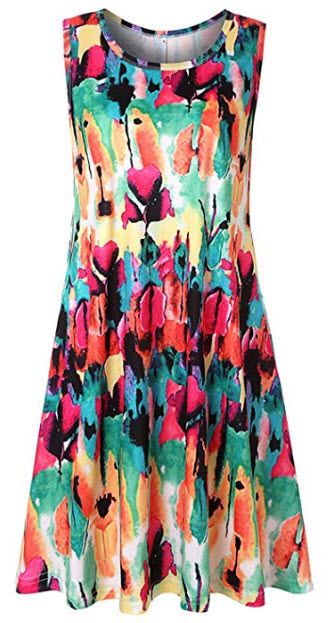 Mai Poetry Women's Casual Floral Printed Swing Dress Sundress with Pockets, multicolored