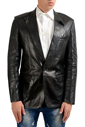 Maison Margiela 14 Men's 100% Leather Black One Button Blazer US 40 IT 50