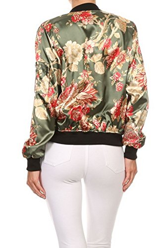 makeitmint Women's Stylish Zip Up Floral Pattern Bomber Flight Jacket