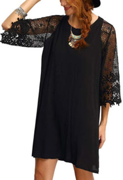 MAKEMECHIC Women's Casual Crewneck Half Sleeve Summer Chiffon Tunic Dress